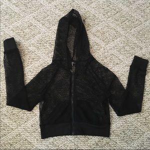 Tops - Black fishnet workout hoodie